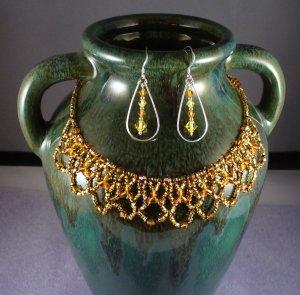 Swarovski Lace Necklace and Teardrop Earrings Set