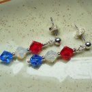 Red White & Blue Spangled Crystal Post Earrings
