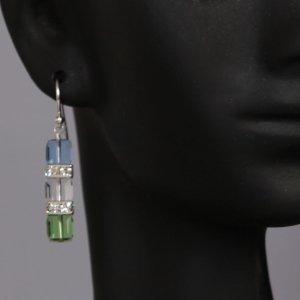 Tri-Cubed Swarovski Drop Earrings