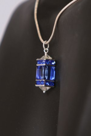 Sapphire Cubed Swarovski Pendant