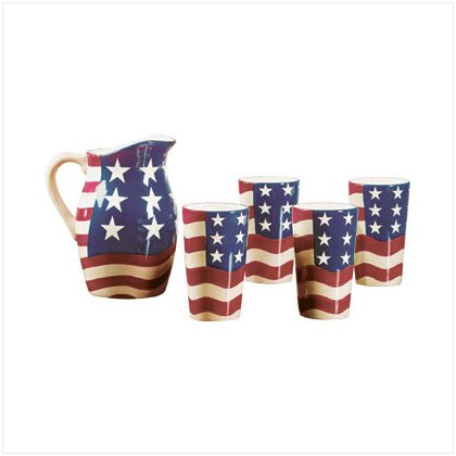 Patriotic Pitcher And Tumblers