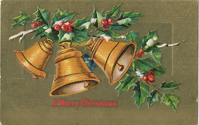 1909 c. Vintage Christmas Postcard Golden Bells Gold Background Embossed
