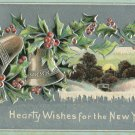 Early 1900's  Vintage New Years Postcard Bells and Holly Silver Background Embossed