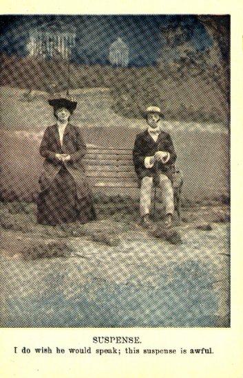 Vintage Romance Postcard Suspense Shy Couple on Bench