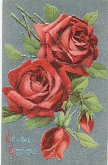 Vintage Birthday Postcard Embossed Roses on metallic Silver Background