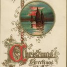 Tuck Embossed Christmas Postcard  Ornate Gilt Script  Vignette of Sailboats in the Sunset