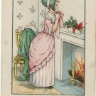 Vintage Christmas Postcard Arts and Crafts style Illustration of a pretty girl in front of fireplace