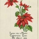 Vintage Tuck Christmas Postcard Embossed Poinsettias