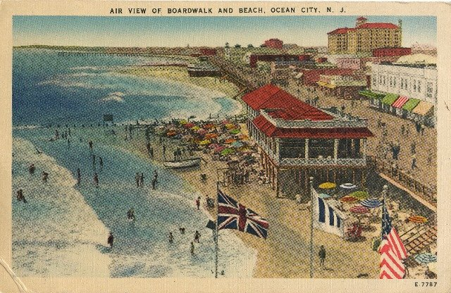 1949 Vintage Postcard Ocean City Boardwalk Air View of Boardwalk and Beach Linen