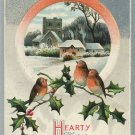 1909 Vintage Christmas Postcard Embossed silver tone with birds Printed in Germany