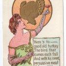 Vintage Thanksgiving Postcard Pretty Lady Turkey 1907