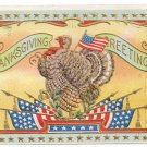 Vintage Patriotic Thanksgiving Postcard Turkey Flags Gold Star Frame