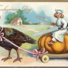 Vintage Thanksgiving Postcard Child Chef Knife Fork Riding Pumpkin Turkeys Tuck