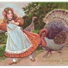 Vintage Thanksgiving Postcard Turkey Pulling Girls Dress Embosssed 1908