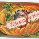 Vintage Thanksgiving Postcard Turkey Pumpkin White Feather 1908 Embossed Gold
