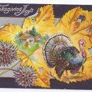 Vintage Thanksgiving Postcard Turkey Cottage Scene Yellow Autumn Leaf on Silver Gilt