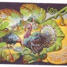 Thanksgiving Embossed Postcard Turkeys Pumpkin Cottage Autumn Leaf on Silver