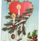 Vintage Christmas Postcard Heart Gold Stars Candles Embossed 1906 Robbins
