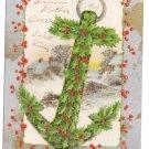 Winsch Gold Silver Holly Anchor Glitter Vintage Christmas Postcard