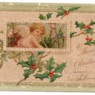 Embossed Cherub Holly 1907 Vintage Christmas Postcard