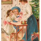 Girls with Mother Doll ca. 1907 Vintage Christmas Postcard