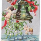 Cherubs Bell and Holly Embossed Silver 1907 Vintage Christmas Postcard