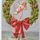 Cherub Angel in Holly Wreath Silver ca 1907 Vintage Christmas Postcard