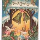 Cherubs Bells Embossed Vintage Christmas Postcard 1907