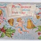 Cherub Bells Silver Embossed Vintage Christmas Postcard 1907