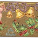 Cherub Bells Gold Embossed Vintage Christmas Postcard 1910