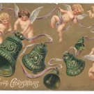 Cherubs Bells Gold Embossed Vintage Christmas Postcard 1906