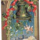 Cherub Bell P. Sander Glitter Embossed Vintage Christmas Postcard 1906