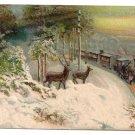 Deer Train Embossed Vintage Christmas Postcard ca 1910