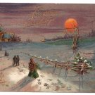 Walking to Church Embossed Gilded Vintage Christmas Postcard 1907