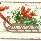 Clapsaddle Mistletoe Sled ca 1907 Vintage Christmas Postcard