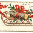 Clapsaddle Yule Log Sled 1907 UND Vintage Christmas Postcard