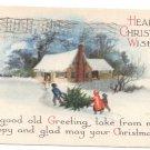 Clapsaddle Wolf Winter Scene 1918 Vintage Christmas Postcard