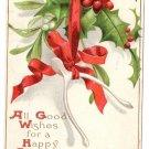 Artist Signed Ellen Clapsaddle Wishbones Mistletoe Holly 1908 Vintage Christmas Postcard IAP