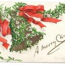 Artist Signed Clapsaddle Mistletoe Bell 1908 Vintage Embossed IAP Christmas Postcard