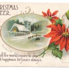Artist Signed Clapsaddle Poinsettia Church Scene Embossed 1918 Vintage IAP Christmas Postcard