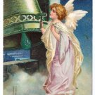 Angel Bell Vintage Christmas Postcard Embossed IAP 1908