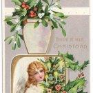Angel tree holly Vintage Christmas Postcard ca 1910