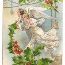 Angels Holly Embossed Gold Vintage Christmas Postcard UND 1907