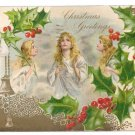 Angels Holly Embossed Gold Vintage Christmas Postcard UND 1906