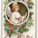 Angel Framed w Embossed Holly Vintage Christmas Postcard IAP ca 1910