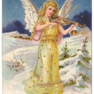 Angel Violin Embossed Gold Vintage Christmas Postcard1907