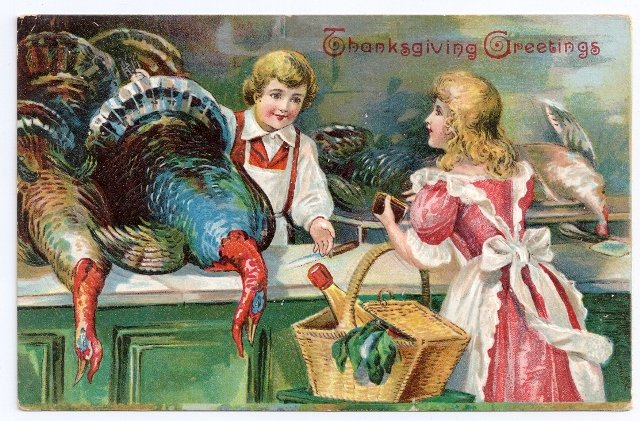 1906 Embossed Vintage Thanksgiving Postcard Pretty Lady Buying Turkey