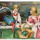 1906 Embossed Vintage Thanksgiving Postcard Pretty Lady Buying Turkey