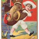1913 Embossed Vintage Thanksgiving Postcard Boy Chef w Turkey