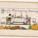 Pilgrims at table Embossed Vintage Thanksgiving Postcard Bergman 1914